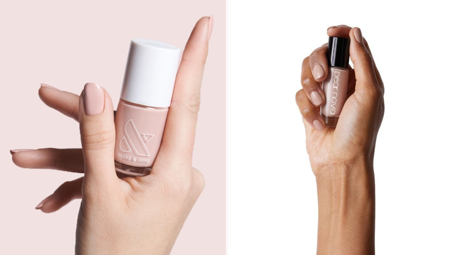 Two hands holding bottles of neutral-pink nail polish
