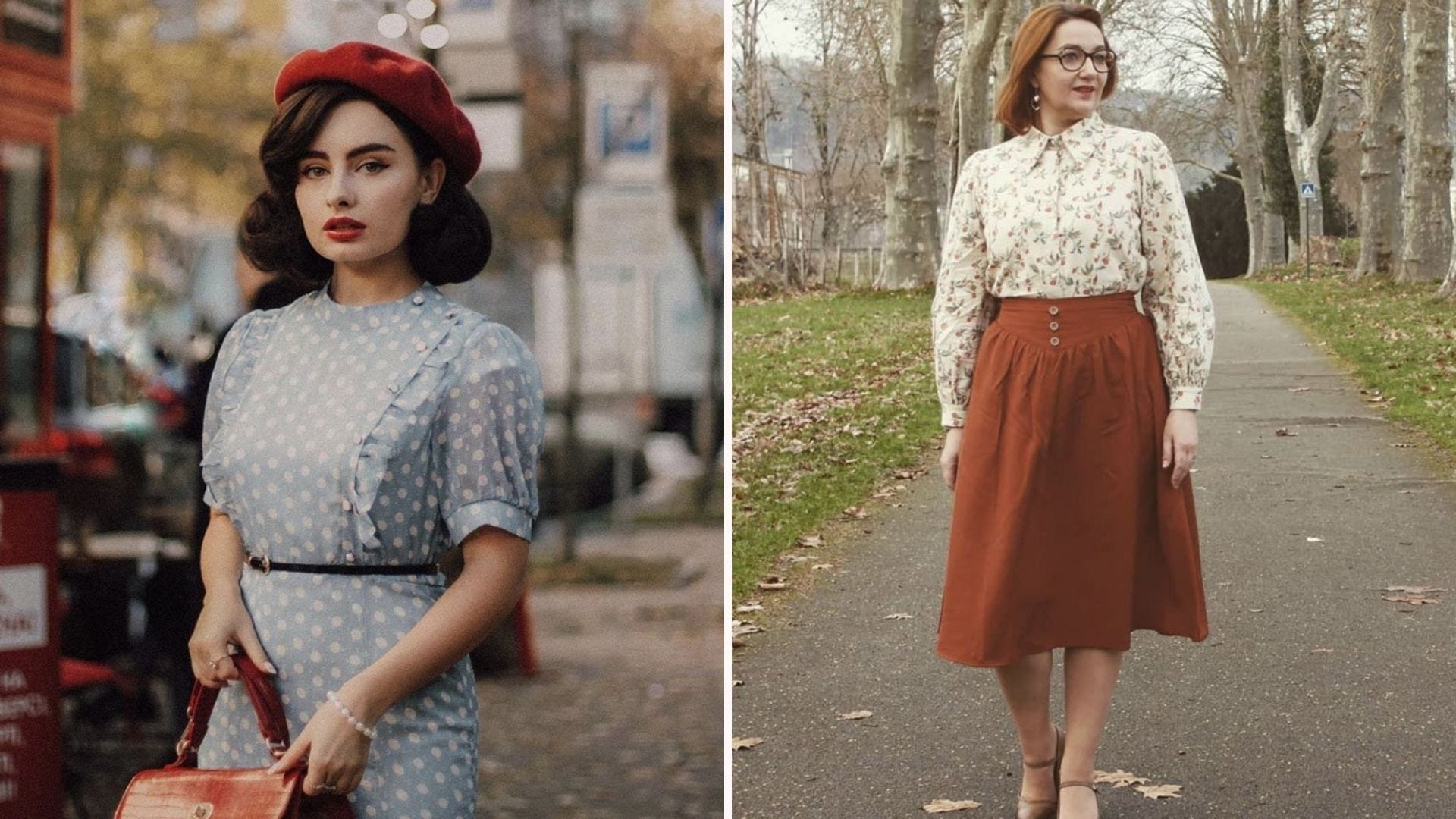 A woman in a blue polka dot dress and red beret; a woman in a rust-colored skirt and floral blouse