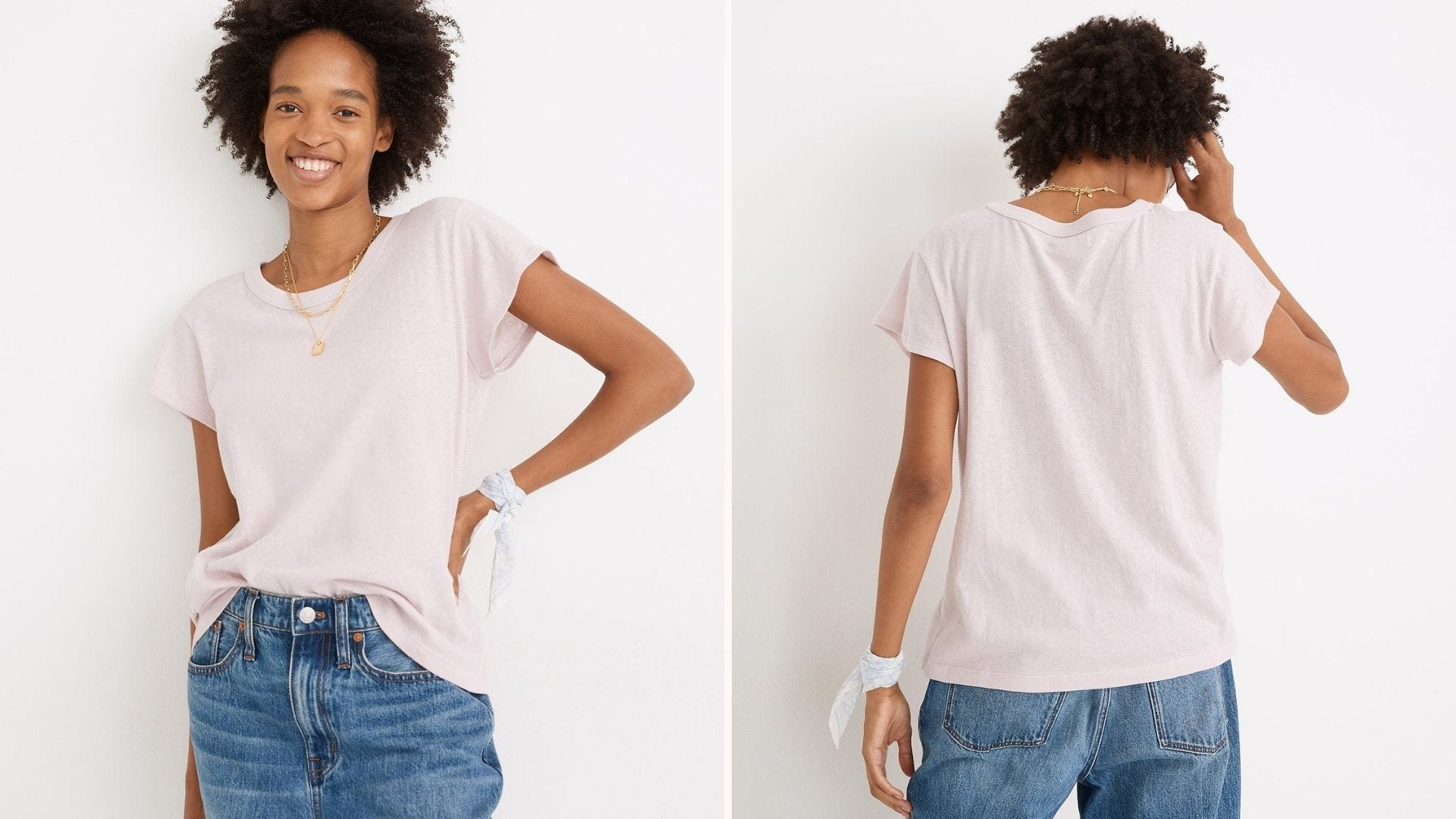 Front and back view of a Black woman wearing a white t-shirt, jeans, and a thin necklace