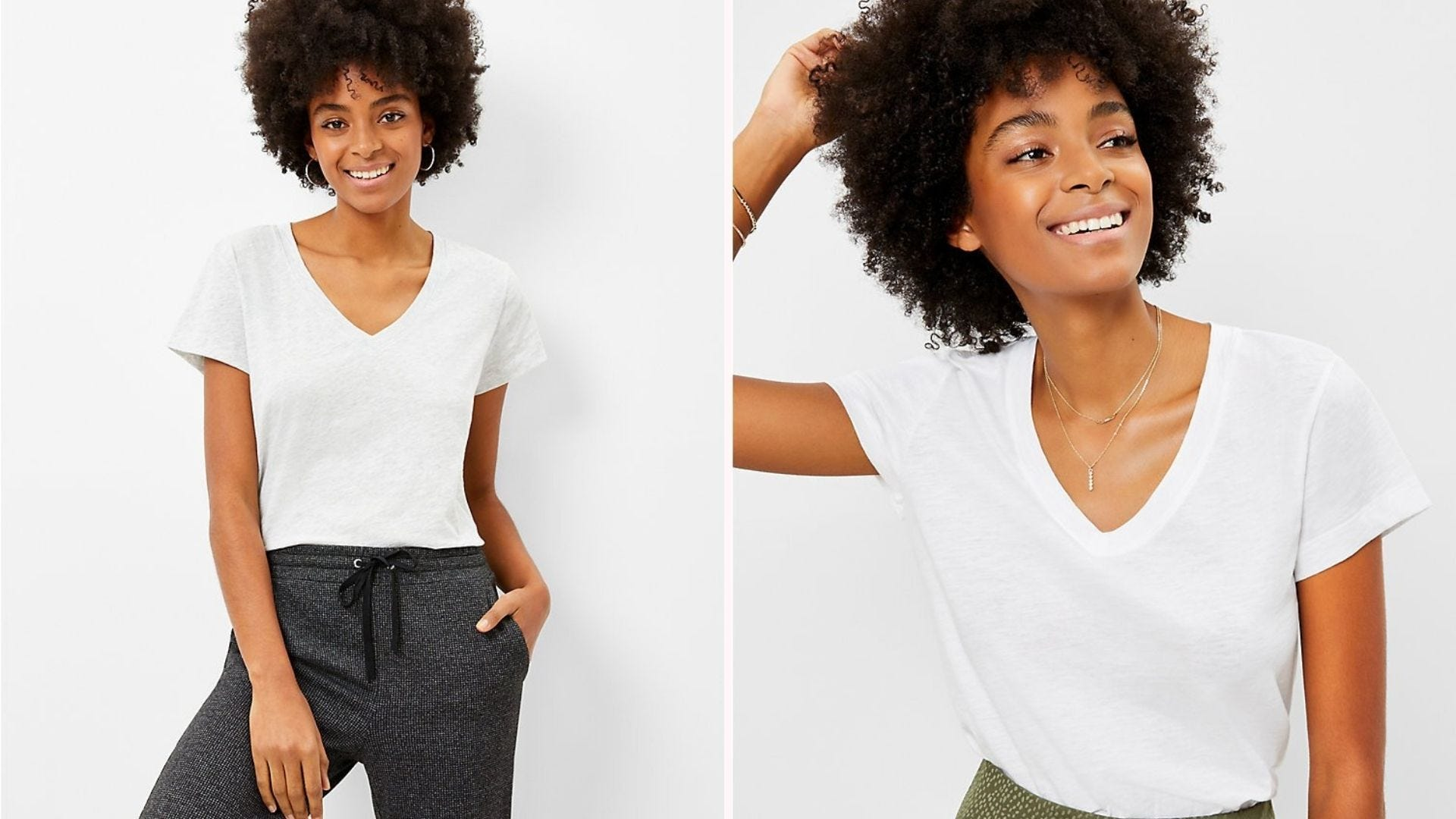 Two images of a Black woman wearing a white V-neck t-shirt