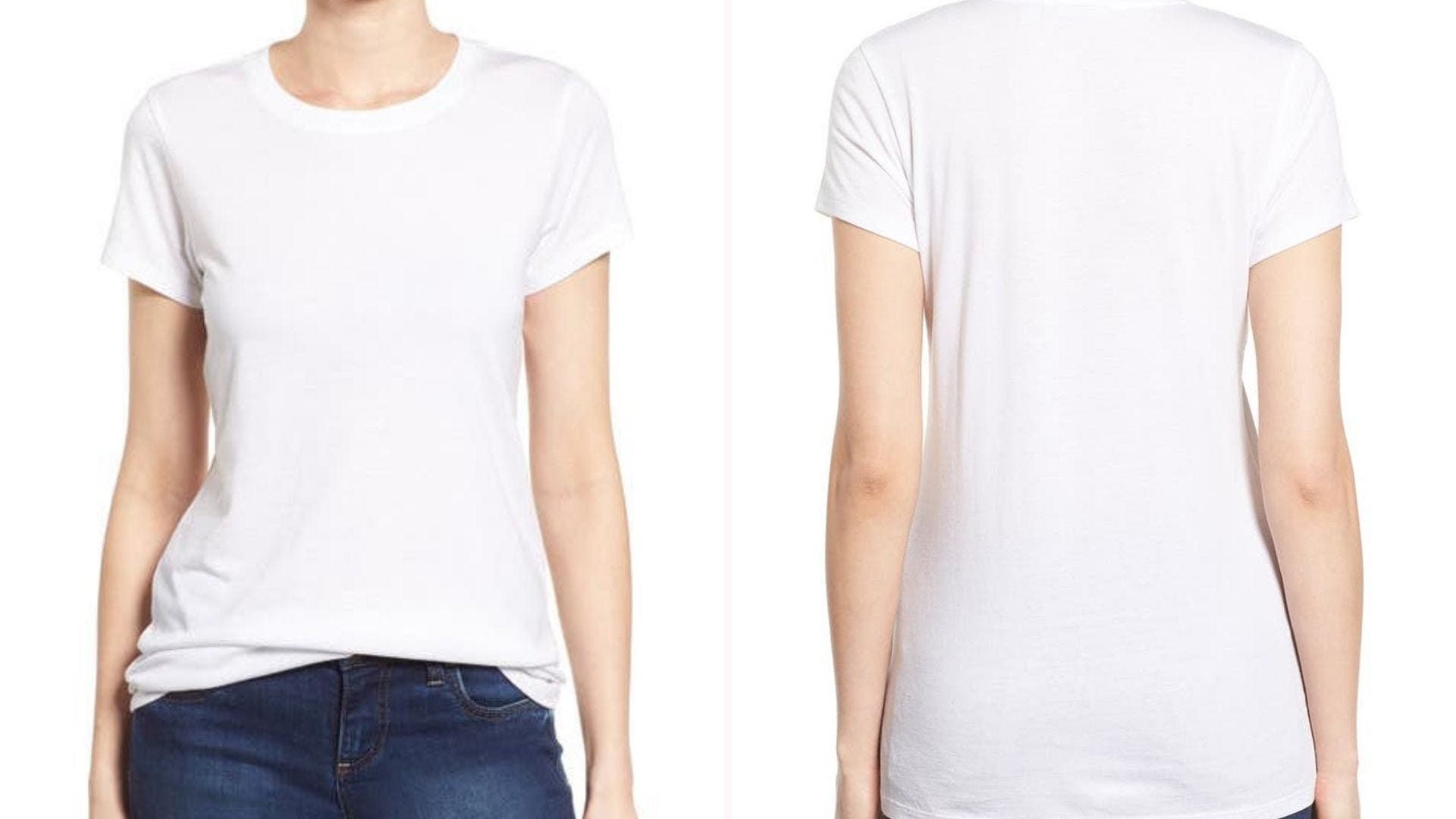 Front and back view of a woman wearing a white t-shirt