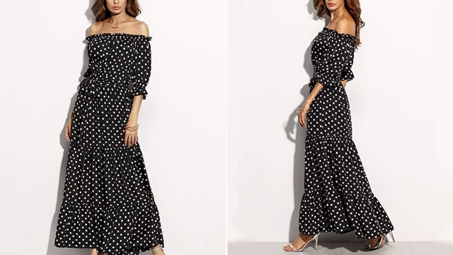 Front and side view of a woman wearing a black and white polka dot off-shoulder maxi dress