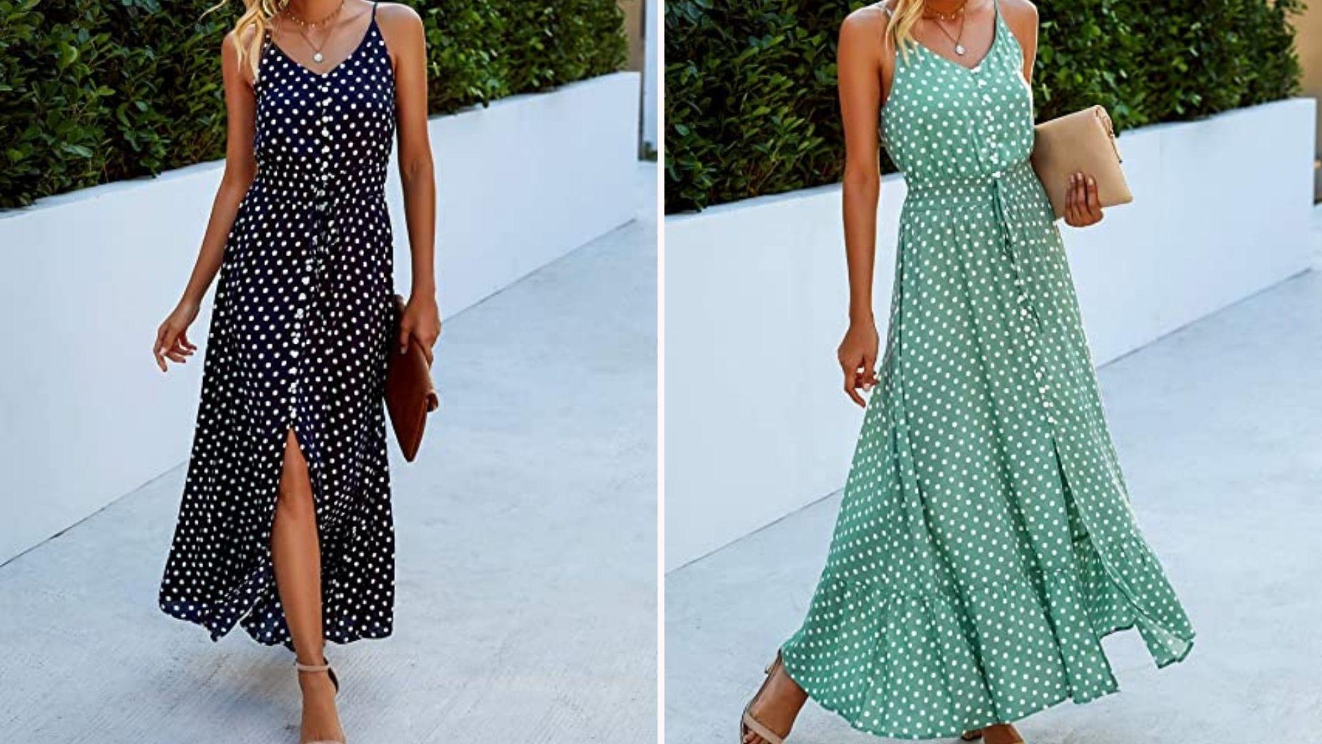 A woman wearing a navy/white polka dot spaghetti strap dress; a woman wearing a green/white polka dot spaghetti strap dress