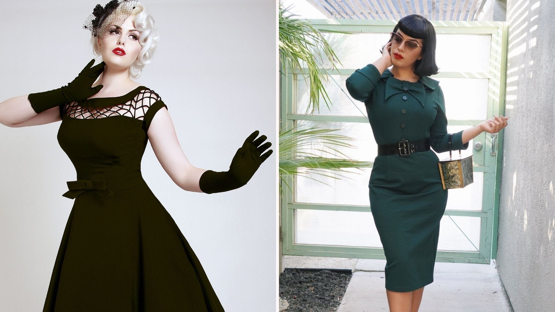 A woman in a black swing dress; a woman in a green pencil skirt dress