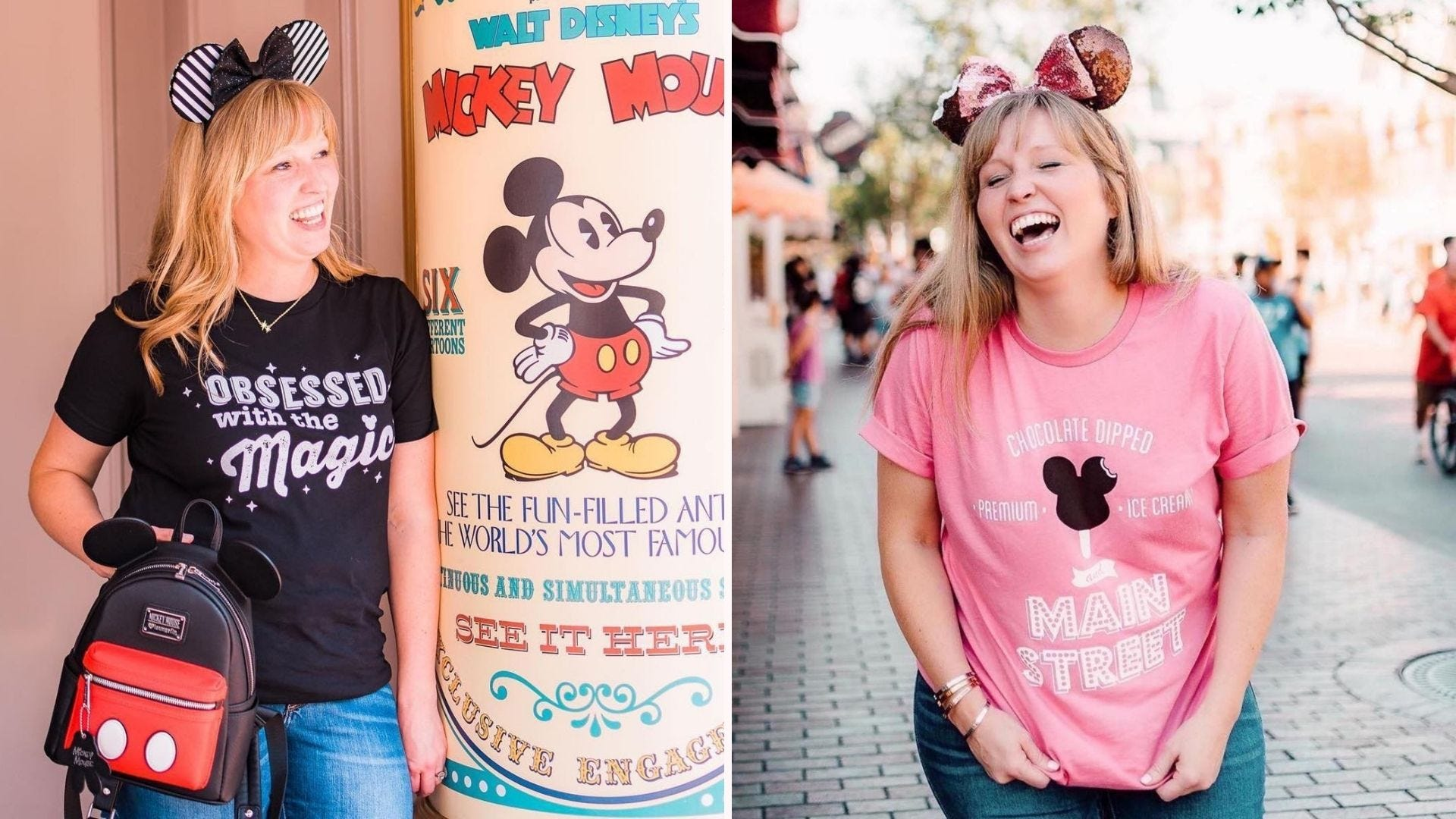 """A woman wearing a T-shirt reading """"Obsessed with the Magic"""", a woman in a pink """"Main Street"""" T-shirt"""