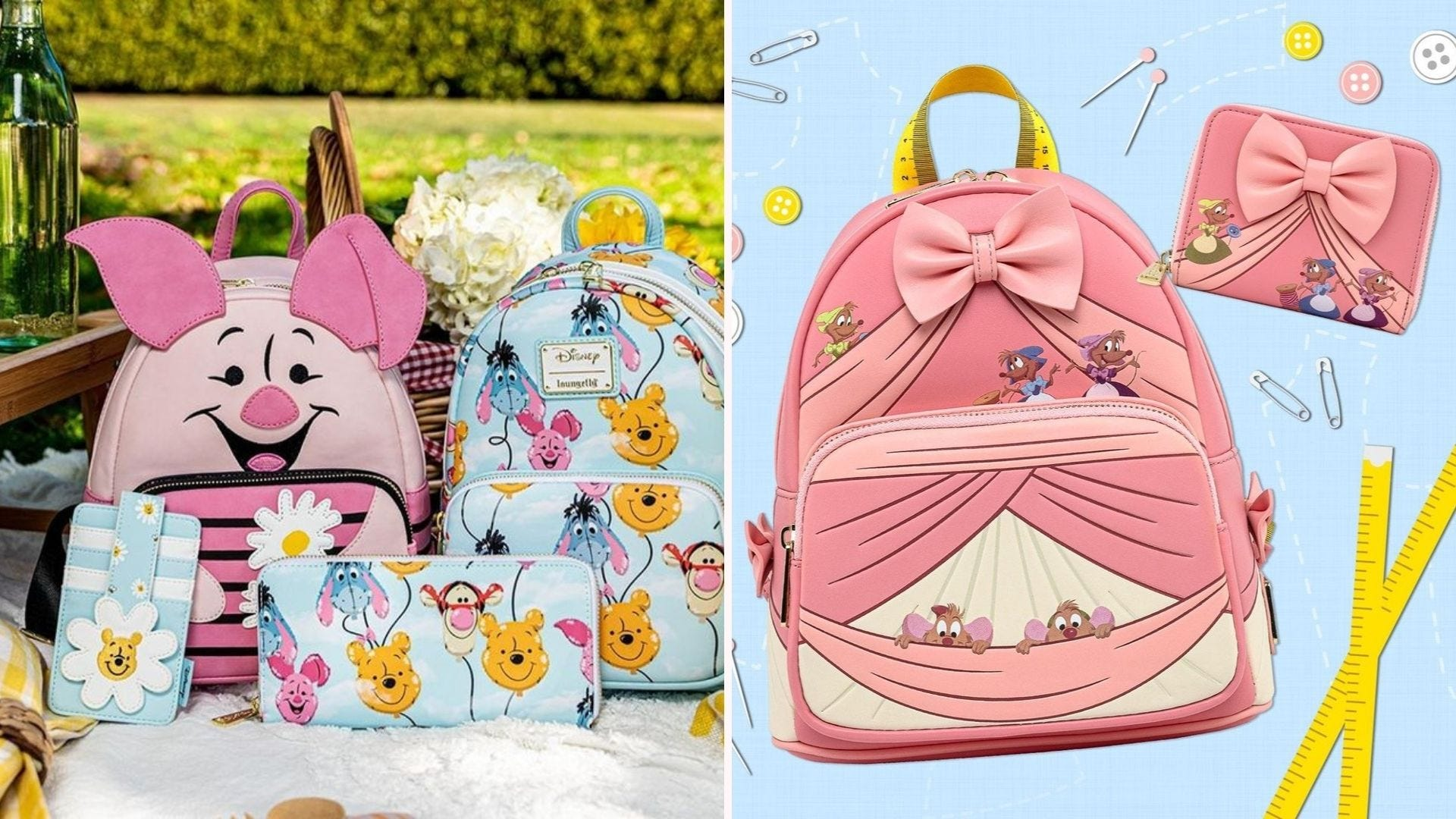 A Winnie-the-Pooh and Piglet purse and backpack; a backpack modeled on Cinderella's pink dress