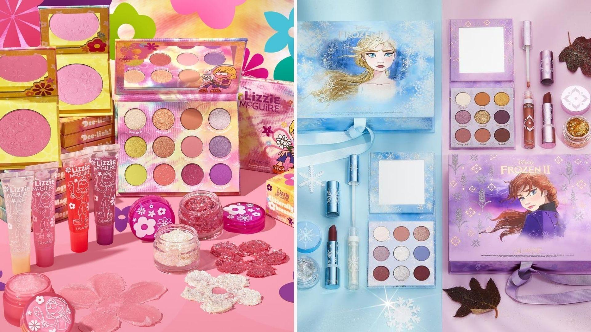 A pink Lizzie McGuire themed makeup kit; a blue and purple Frozen themed makeup set