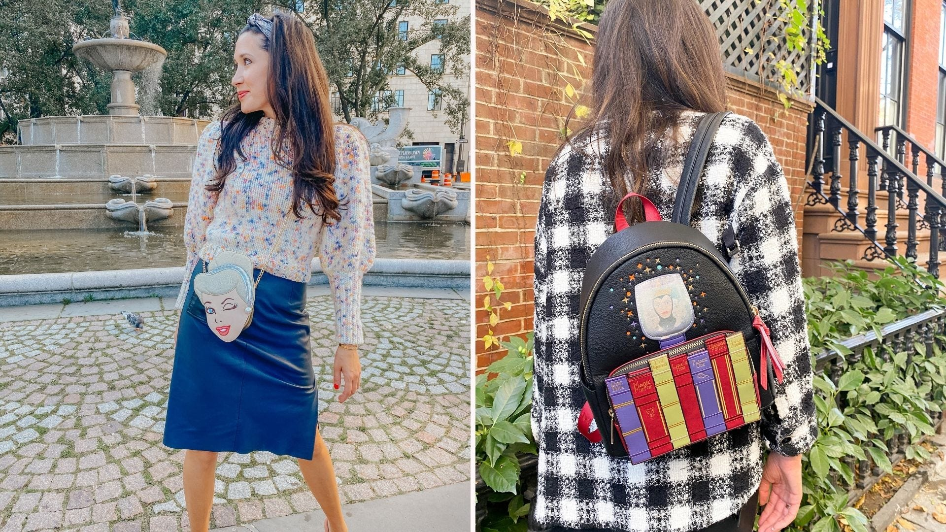 A woman with a Cinderella-shaped purse; a woman with an Evil Queen themed backpack