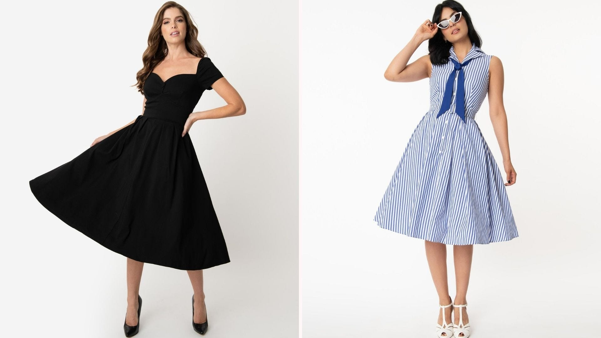 A woman in a swing-skirt black dress; a woman in a white and blue striped sleeveless dress