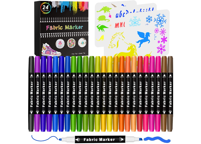 A set of 24 fabric markers shown in rainbow form and a demonstration of their coloring abilities.
