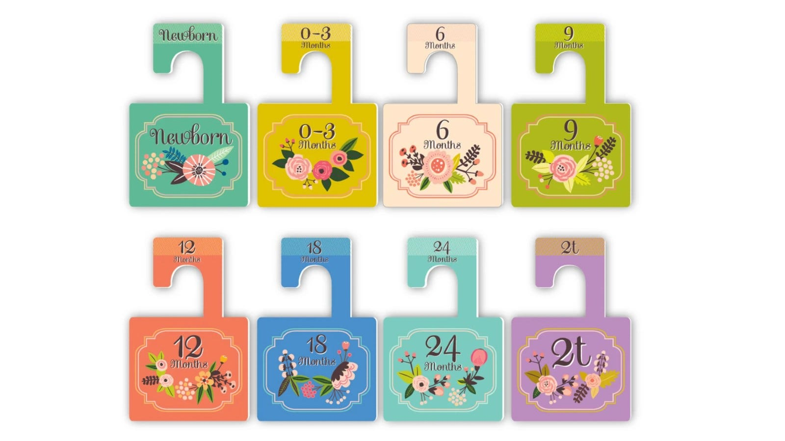 colorful hanger organizers saying different ages