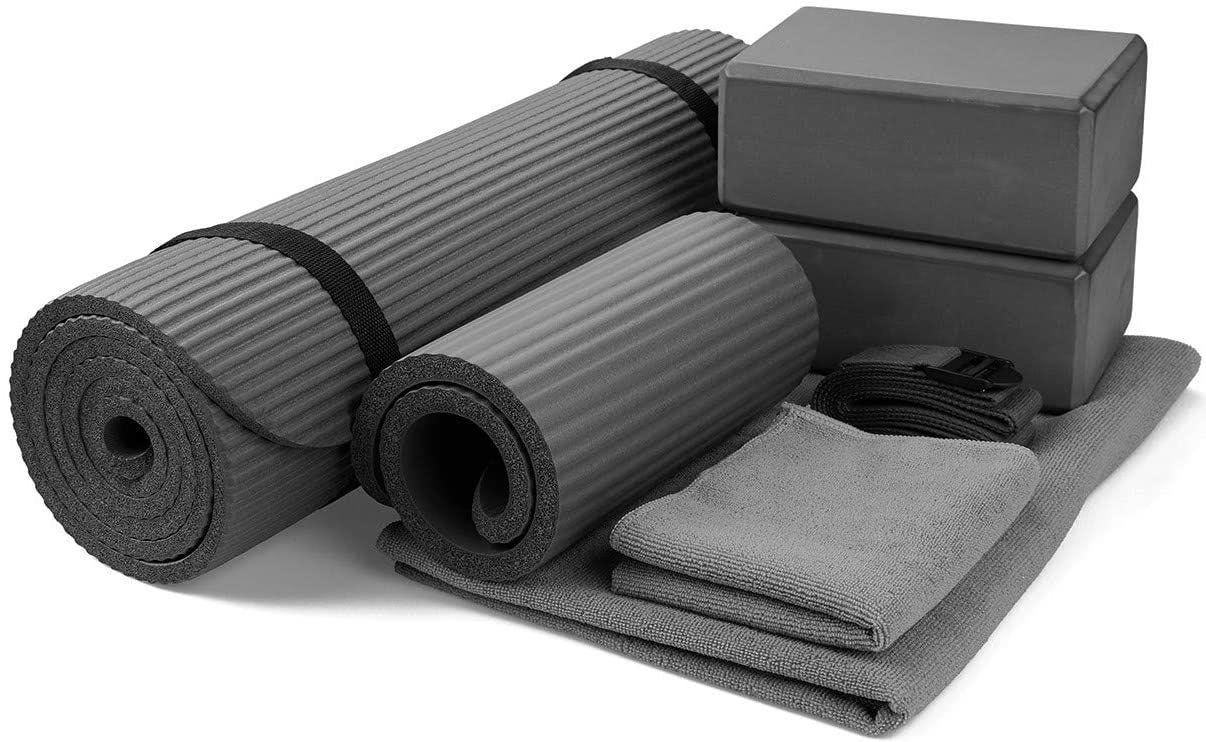 Gray seven-piece Yoga mat set.