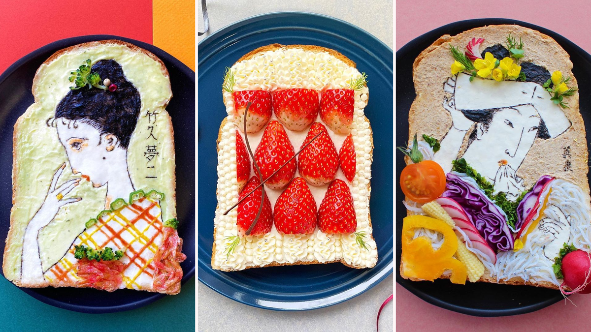 Three photos show an artist's creating traditional japanense artwork and geometric designs on toast.