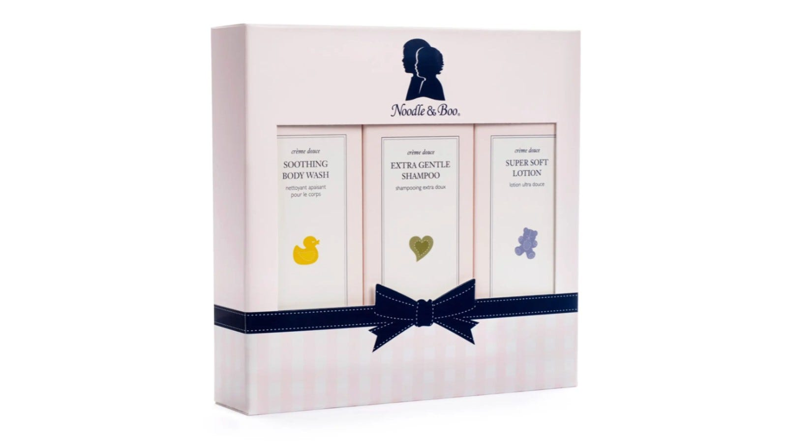 pink box with three different kinds of baby skincare