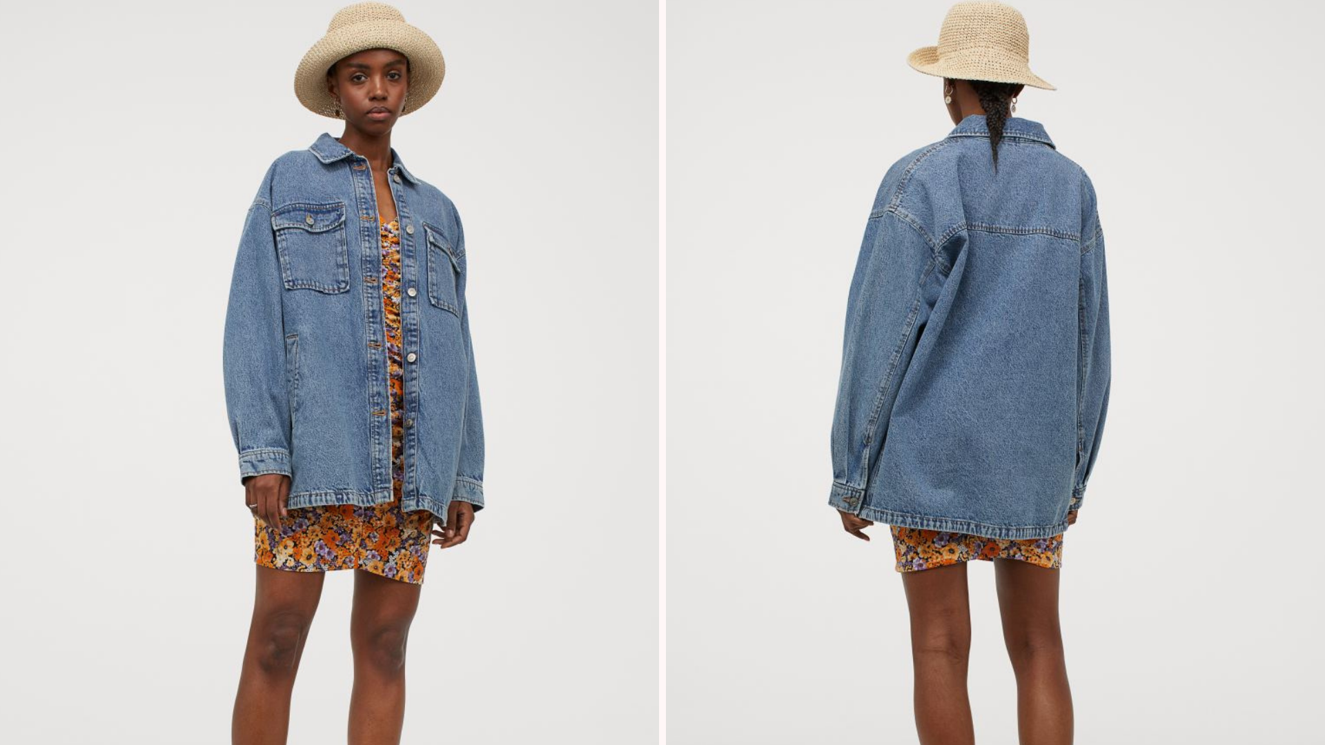Black woman wearing hat with denim shacket and sundress