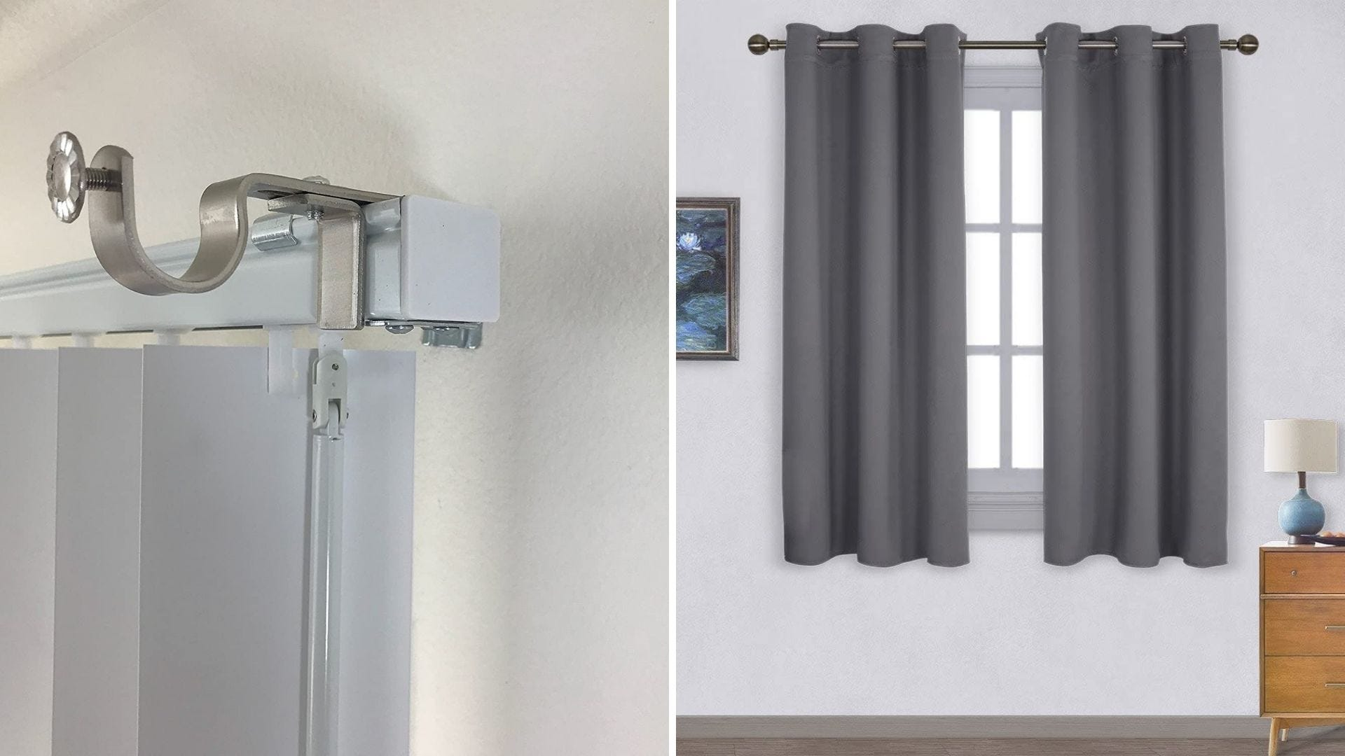 A metal bracket installed on top of a curtain rod and a gray pair of curtains hanging in a window.