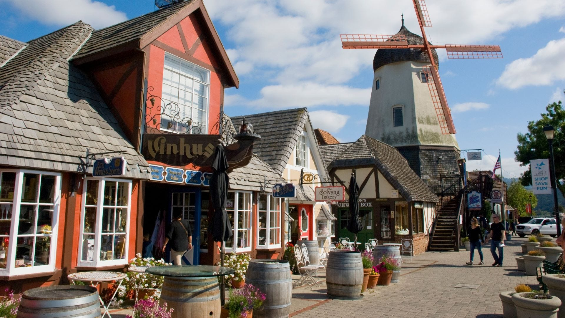 A shop and windmill in Solvang California.