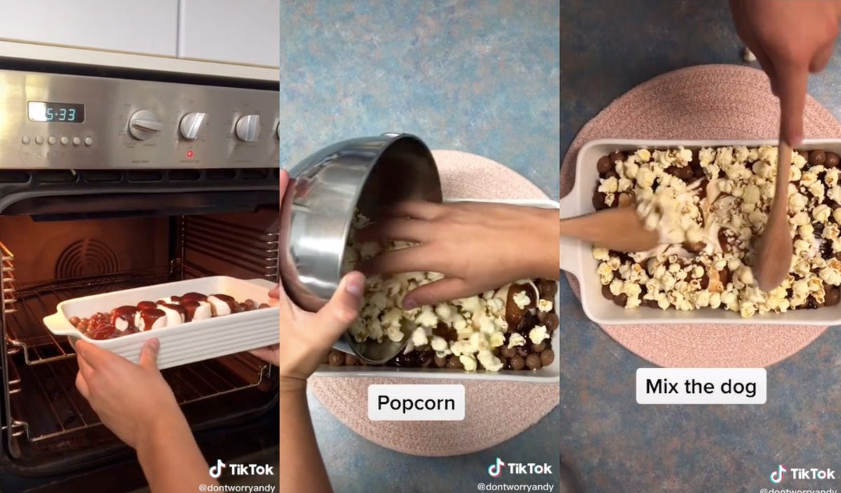 Images show a person baking marshmallows and chocolate balls then adding popcorn and mixing it all together to make a dessert.