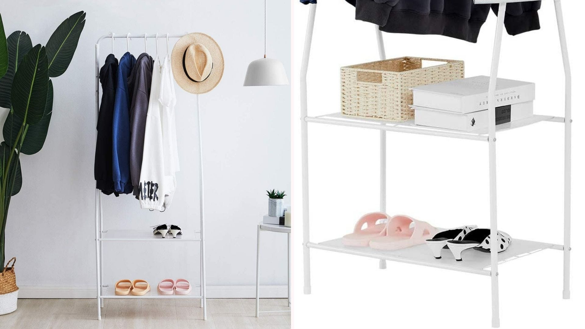 Metal clothing rack with two lower shelves.