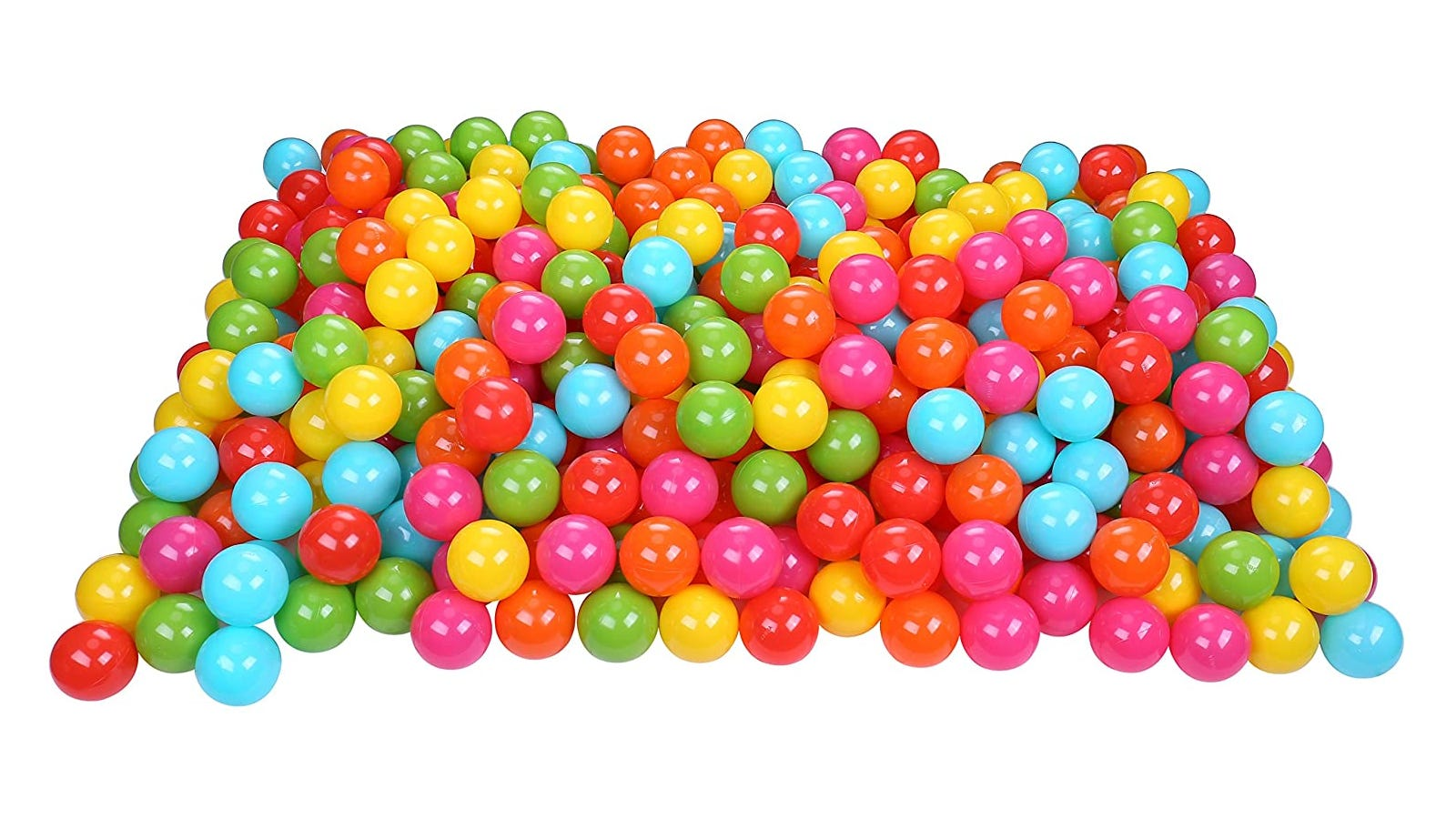large pile of pink, red, blue, green, and yellow plastic balls