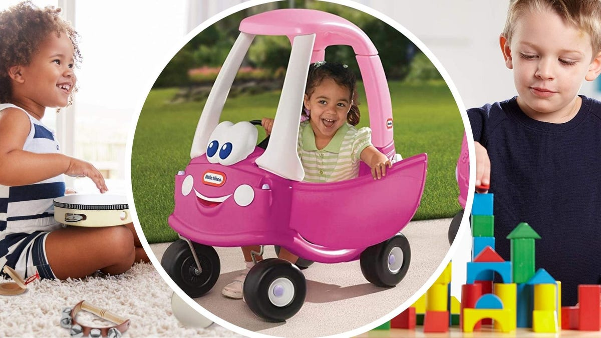 A young girl playing with Stoie's instruments, a young girl playing with a Little Tikes buggy, and a young boy playing with Melissa & Doug blocks.