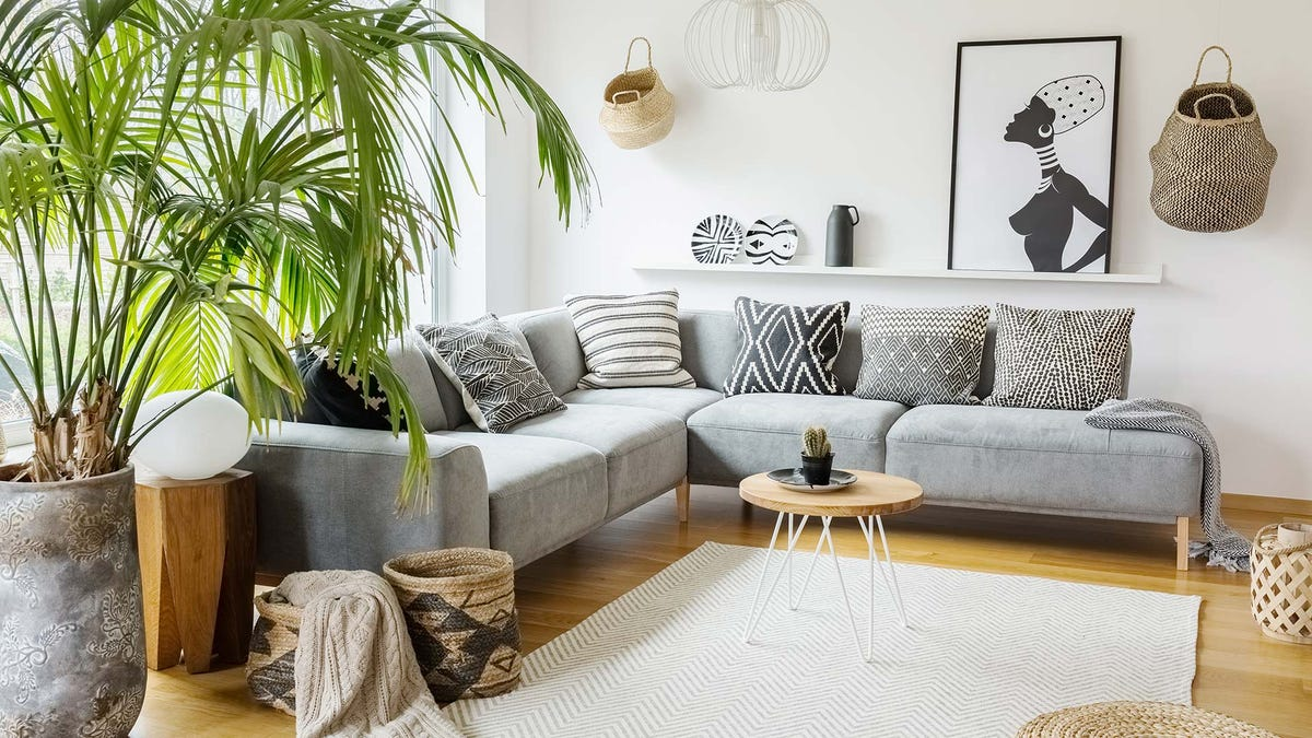 An airy living room with plants and a sectional couch.