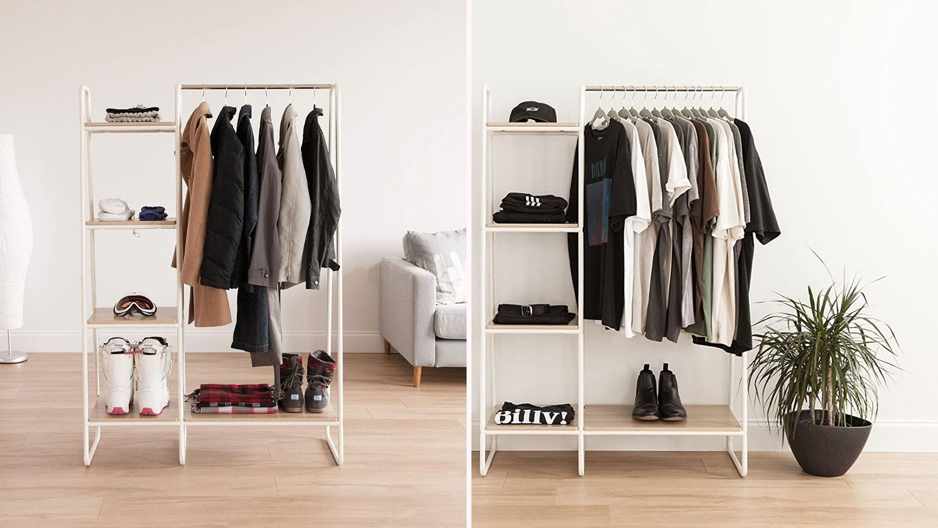 White metal clothing racks displayed in different rooms.