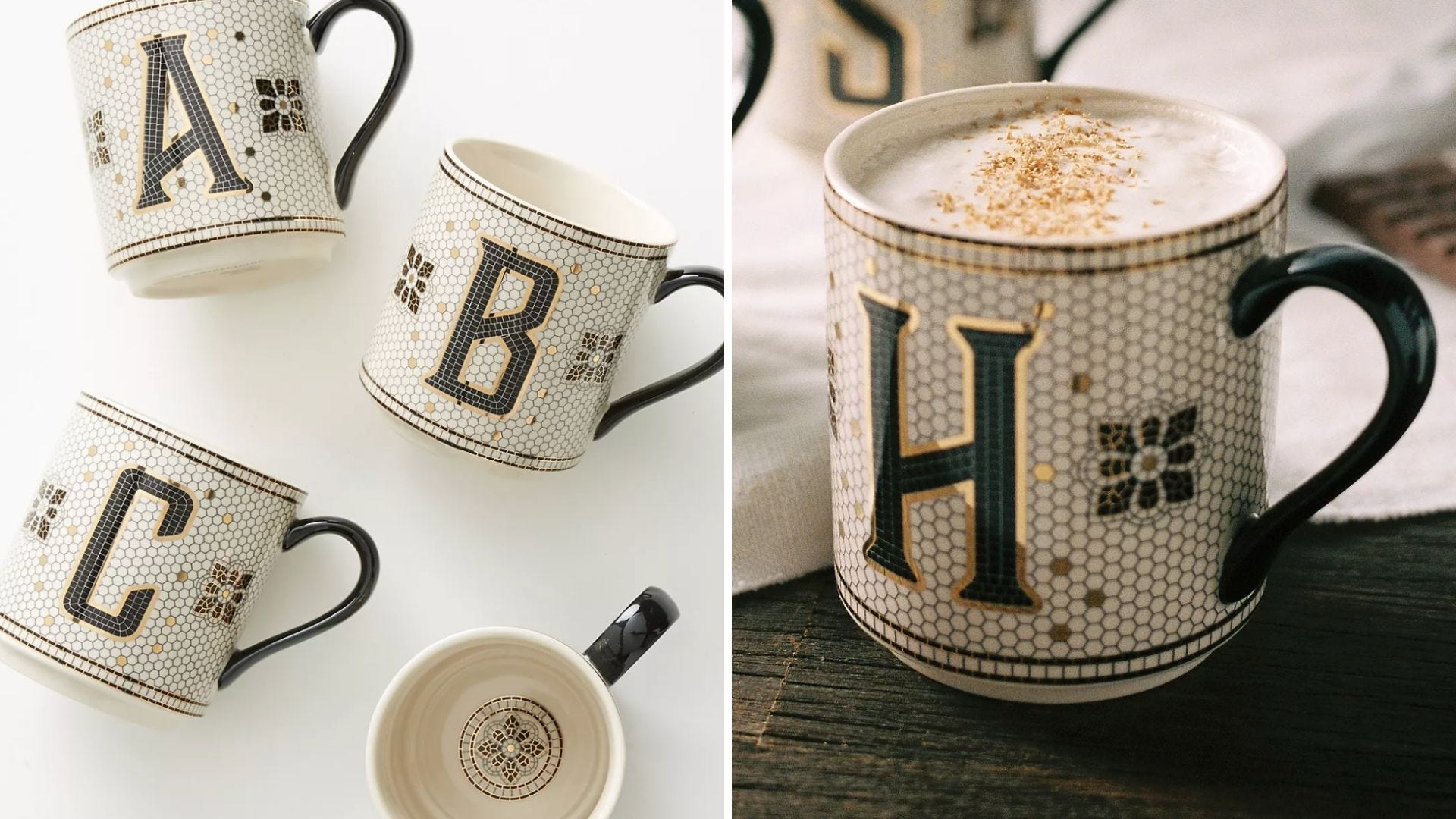 A set of mugs with different letters on them.