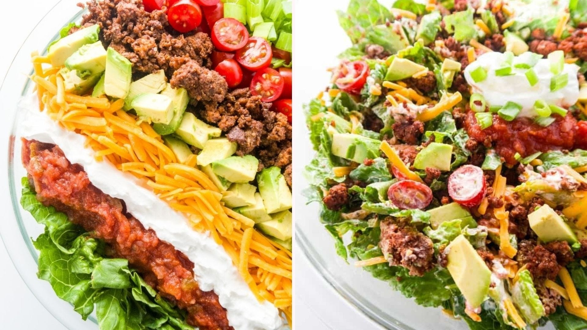 Two images of taco salad, plated in two different ways to highlight the tasty taco-inspired ingredients.