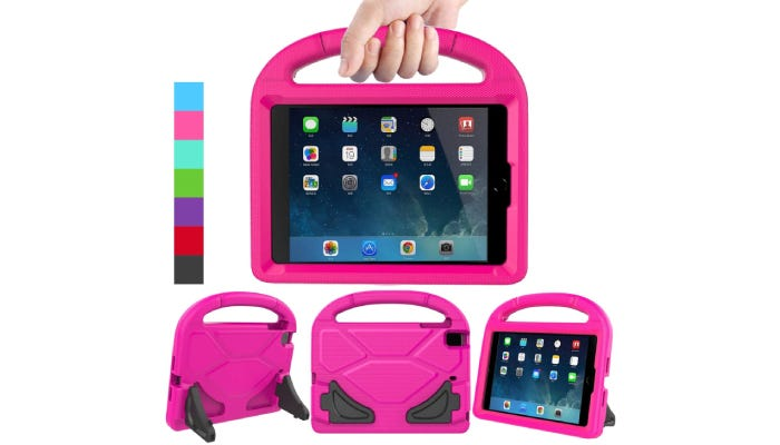 a bright pink kids' iPad mini case with a handle on the top and legs on the back