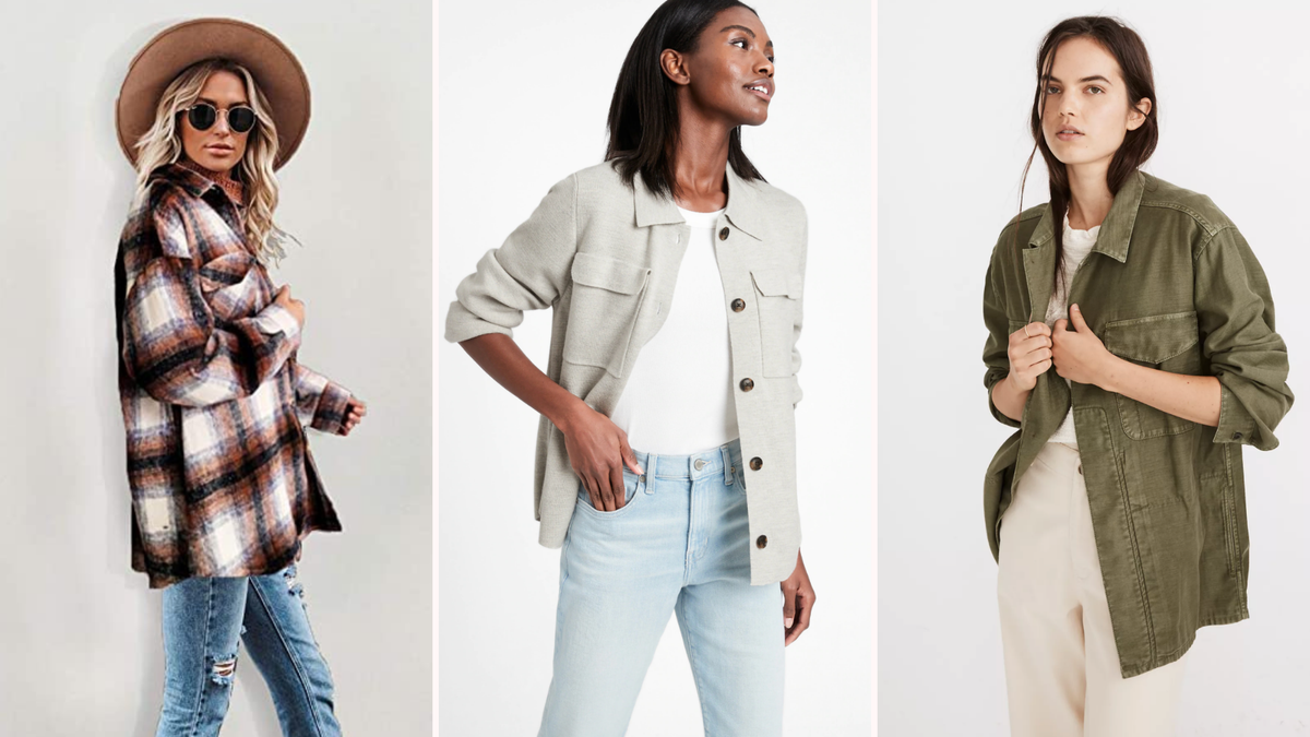 blonde woman wearing a hat and plaid shacket/Black woman wearing a gray shacket with jeans/brunette woman wearing army green shacket