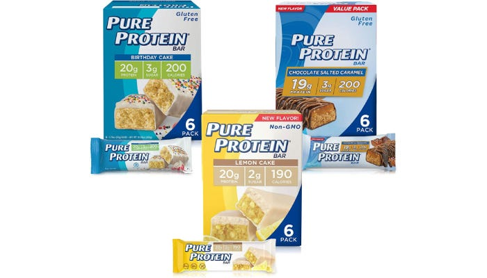A variety pack which includes three types of protein bar flavors: birthday cake, lemon cake, and and salted caramel.