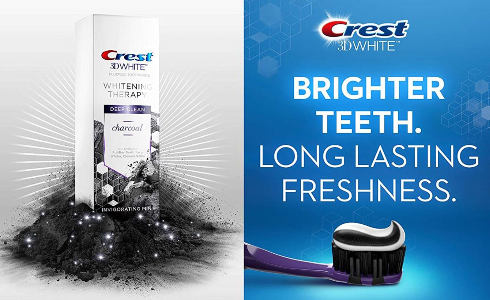 A Crest 3D teeth whitening charcoal toothpaste box and an ad with some on a black toothbrush.