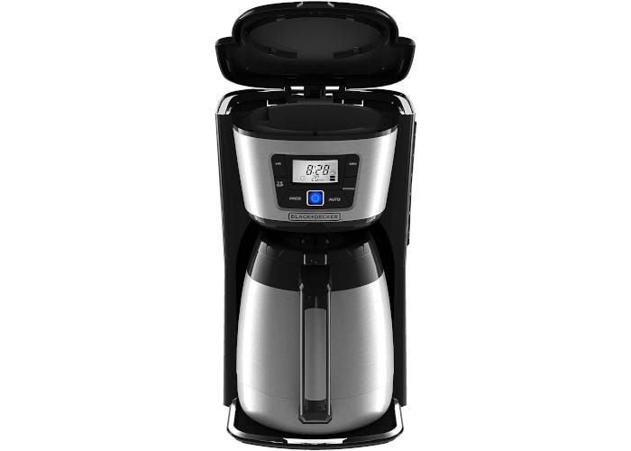 Black drip coffee maker with stainless steel accent and a stainless steel thermal carafe