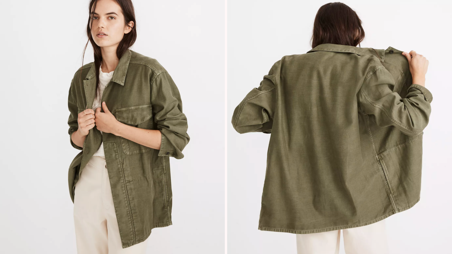 brunette woman wearing green army style shacket with khakis