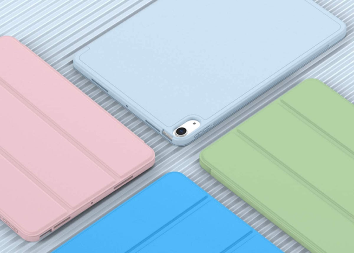 four iPad cases in different colors next to each other on a ridged silver tabletop