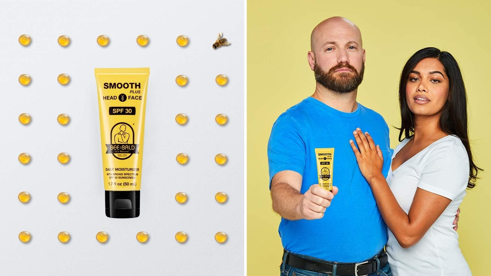 A yellow bottle of sunscreen. A man and woman hold the bottle of sunscreen.