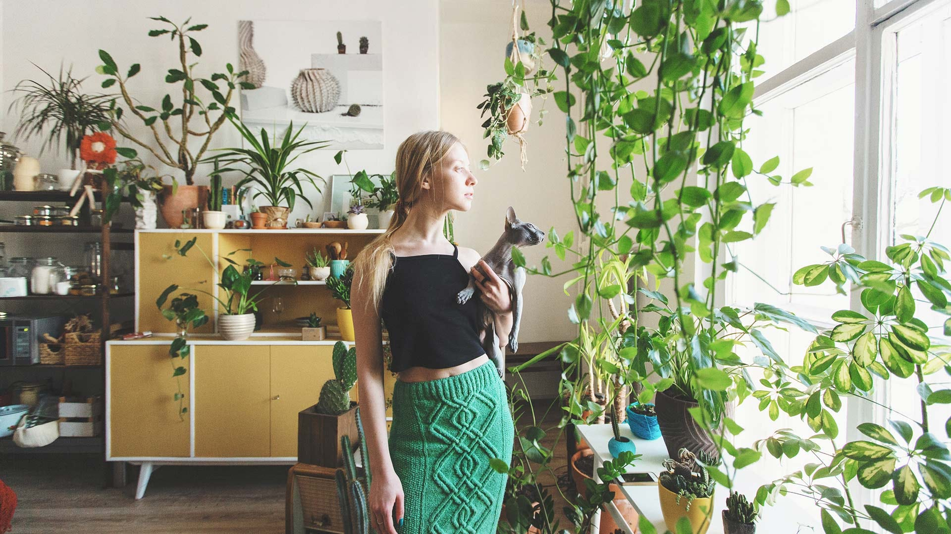 A woman looking out a window covered in plants.
