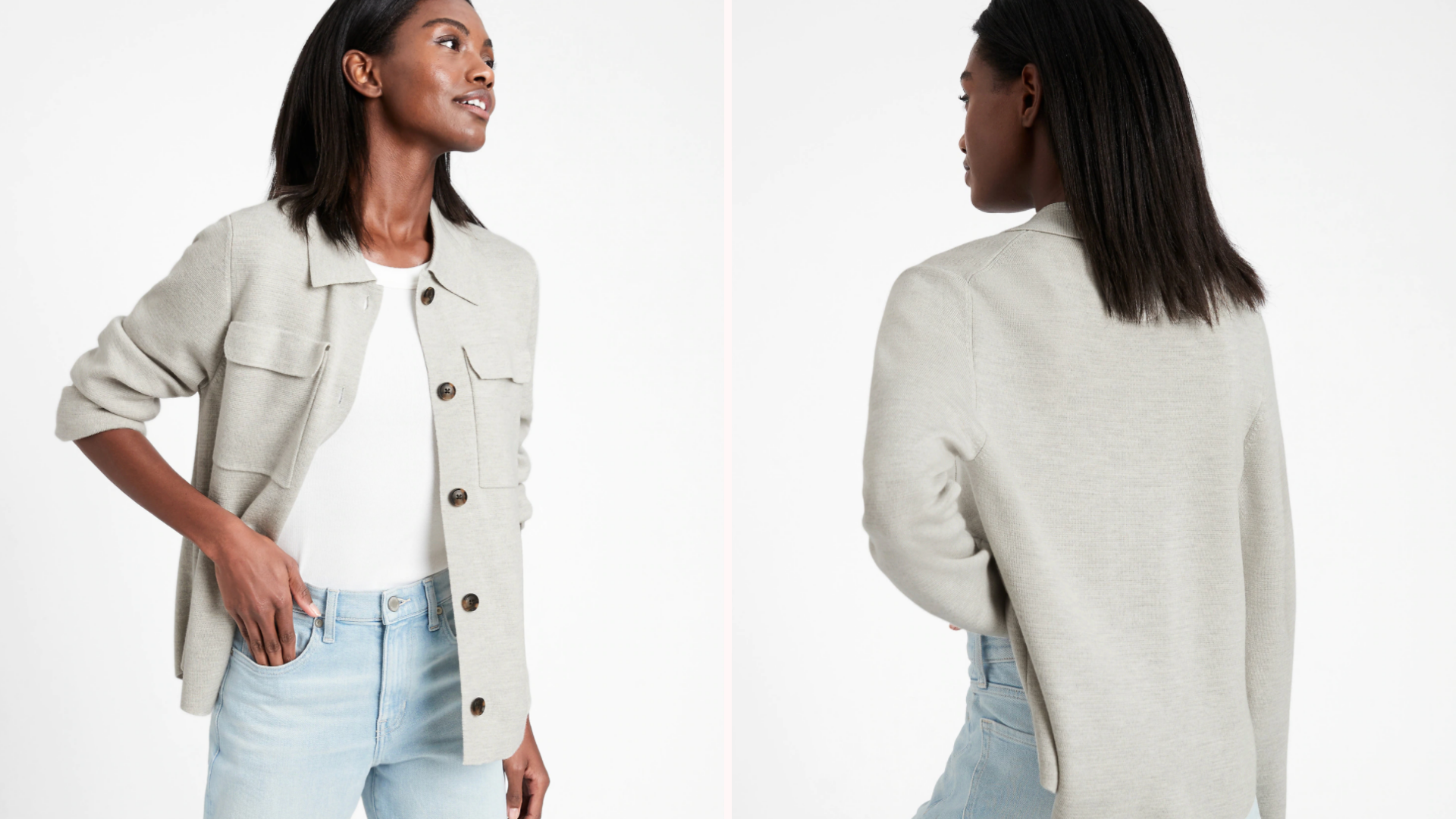 Black woman wearing gray shacket with white shirt and blue jeans