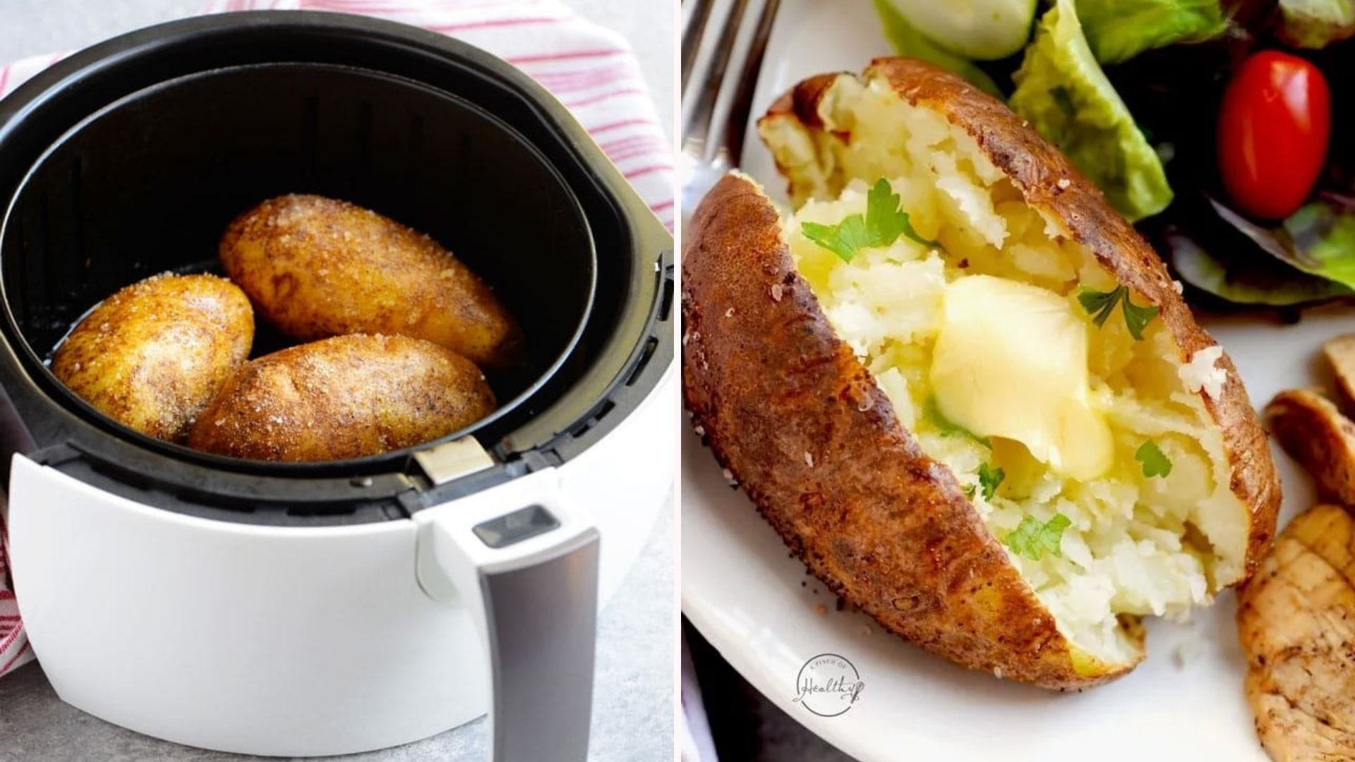 Two images: The left image is of three Russet potatoes placed inside the compartment of an air fryer, and the right image is of the perfectly tender and fluffy baked potato topped with butter and fresh parsley.