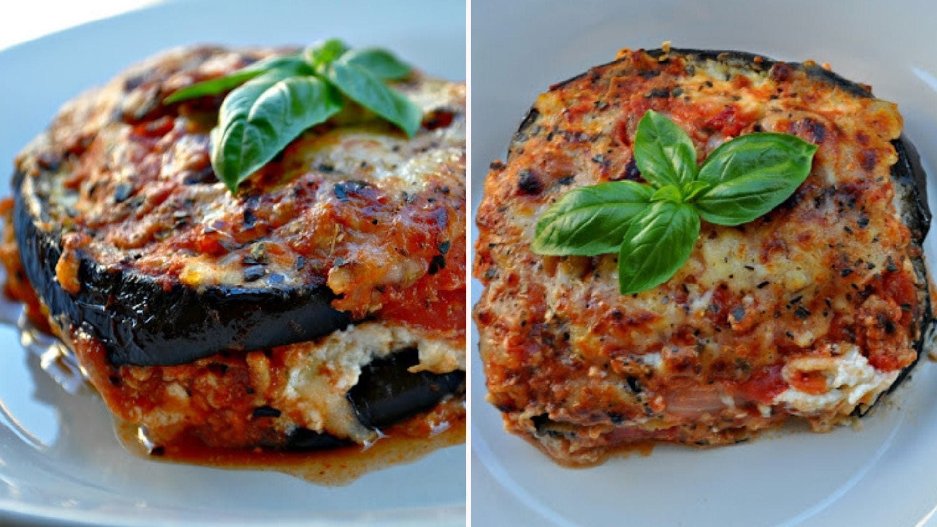 Two images in two different angles, displaying eggplant lasagna topped with fresh basil leaves.