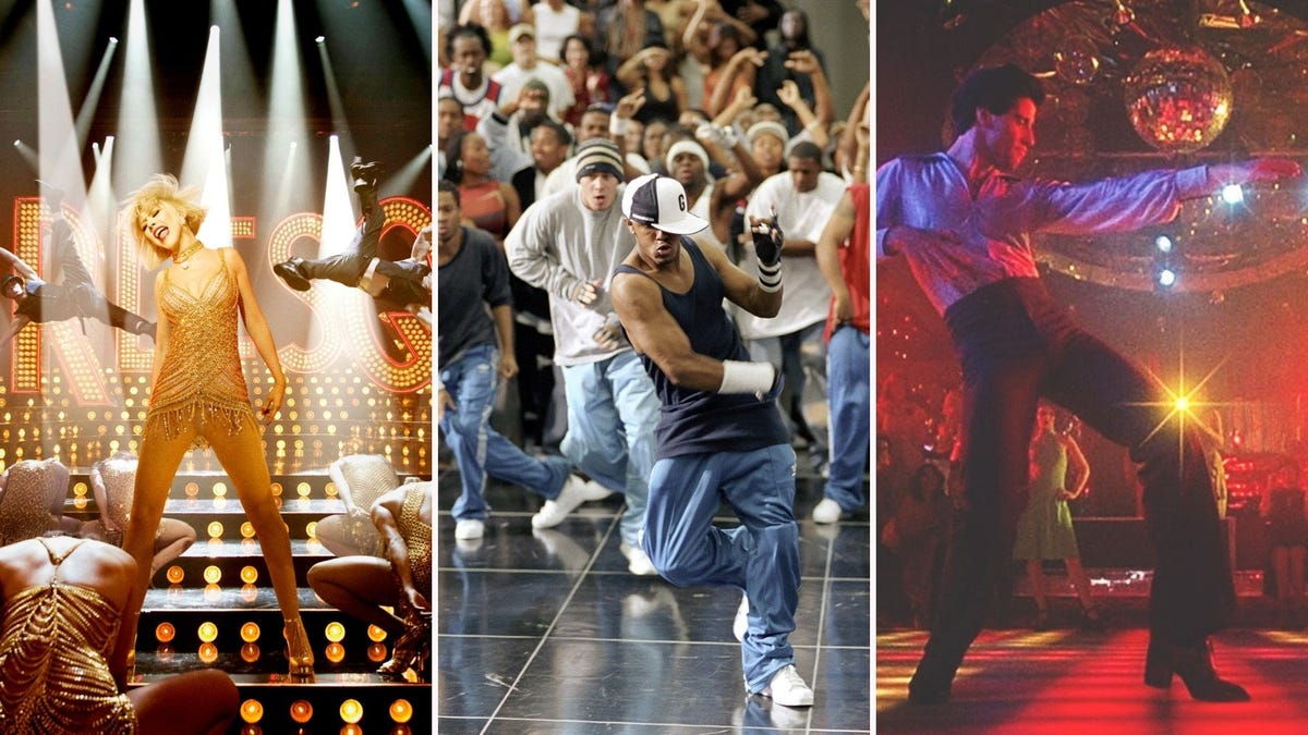 Dance movie scenes, from left to right, Burlesque, Stomp the Yard, and Saturday Night Fever.