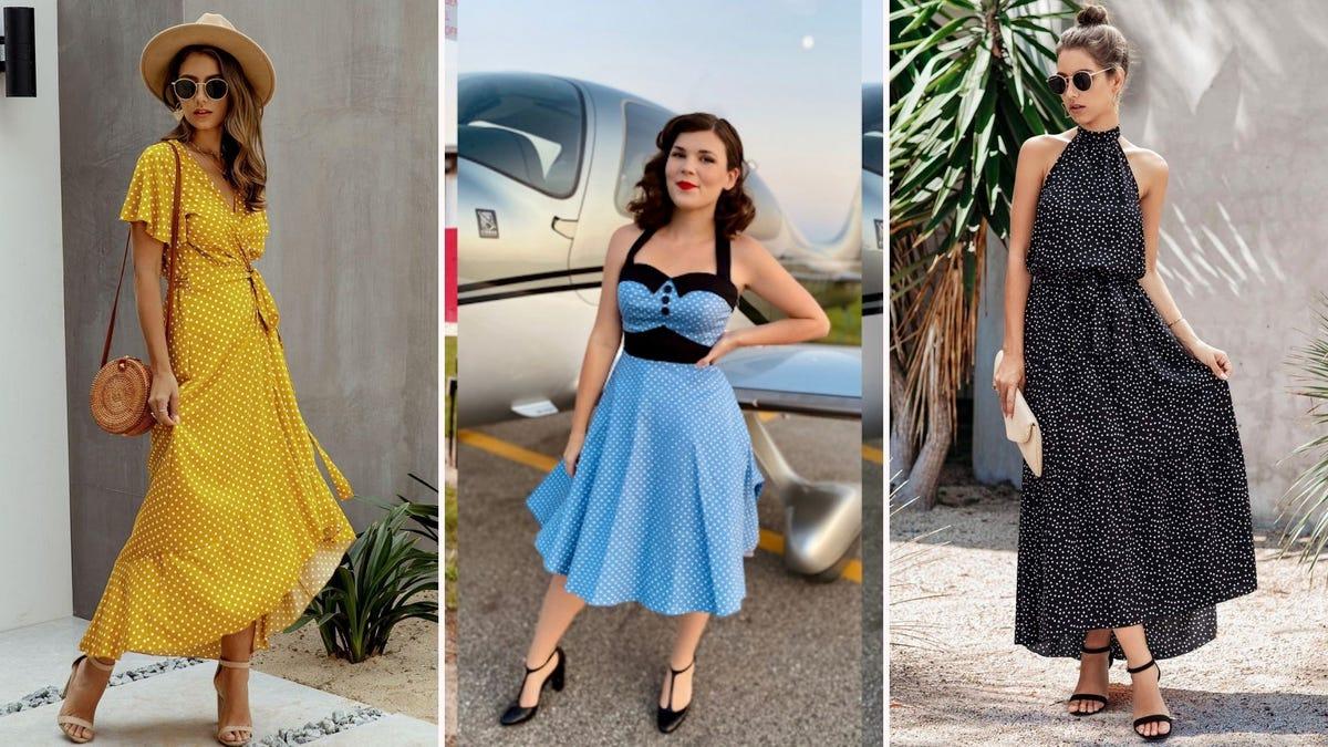 Assortment of polka dot summer dresses.