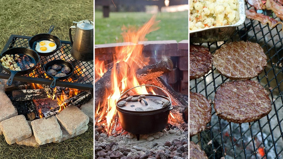Fire grates and Dutch ovens, set up to allow easy cooking over an outdoor fire.