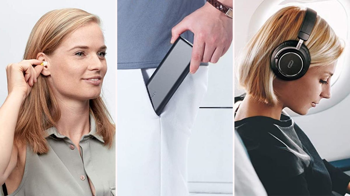 On the left a woman inserting earplugs;  in the middle a man putting a portable charger in his pocket;  and on the right, a woman with noise canceling headphones on an airplane.