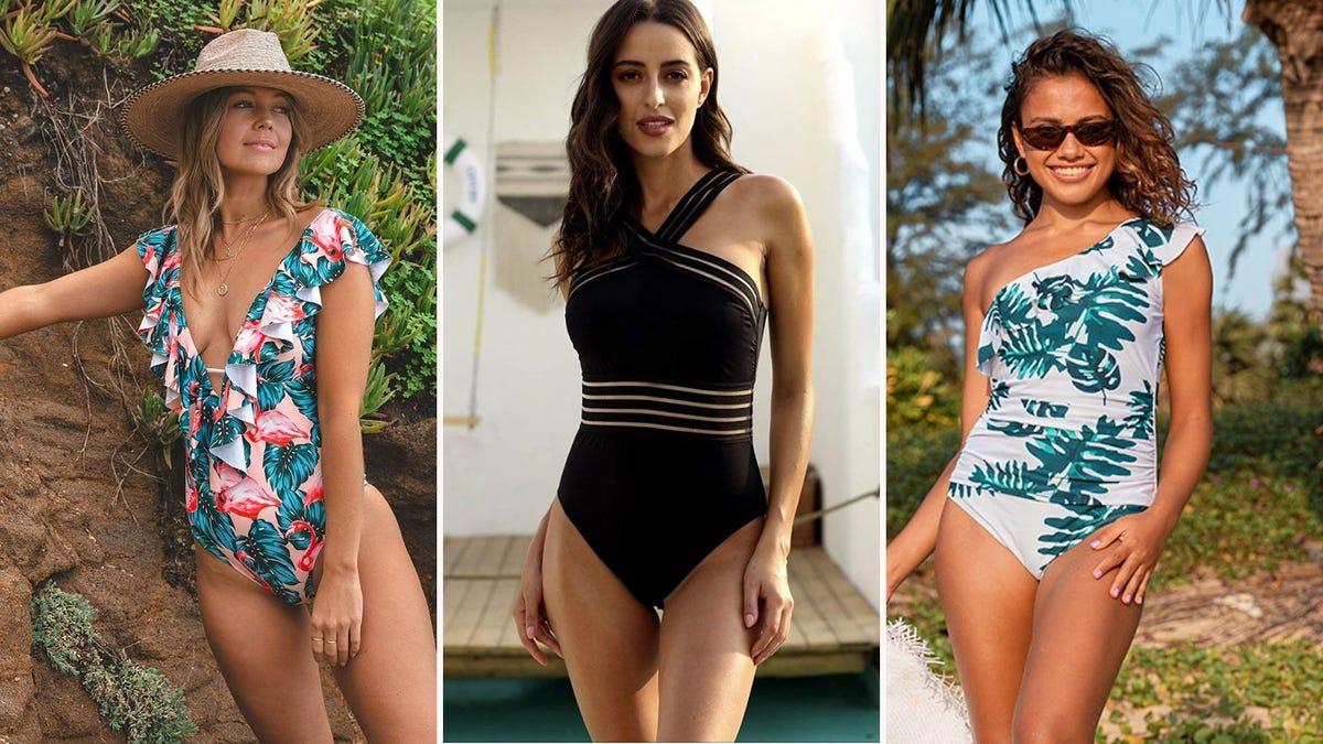 Three women wearing one-piece swimsuits
