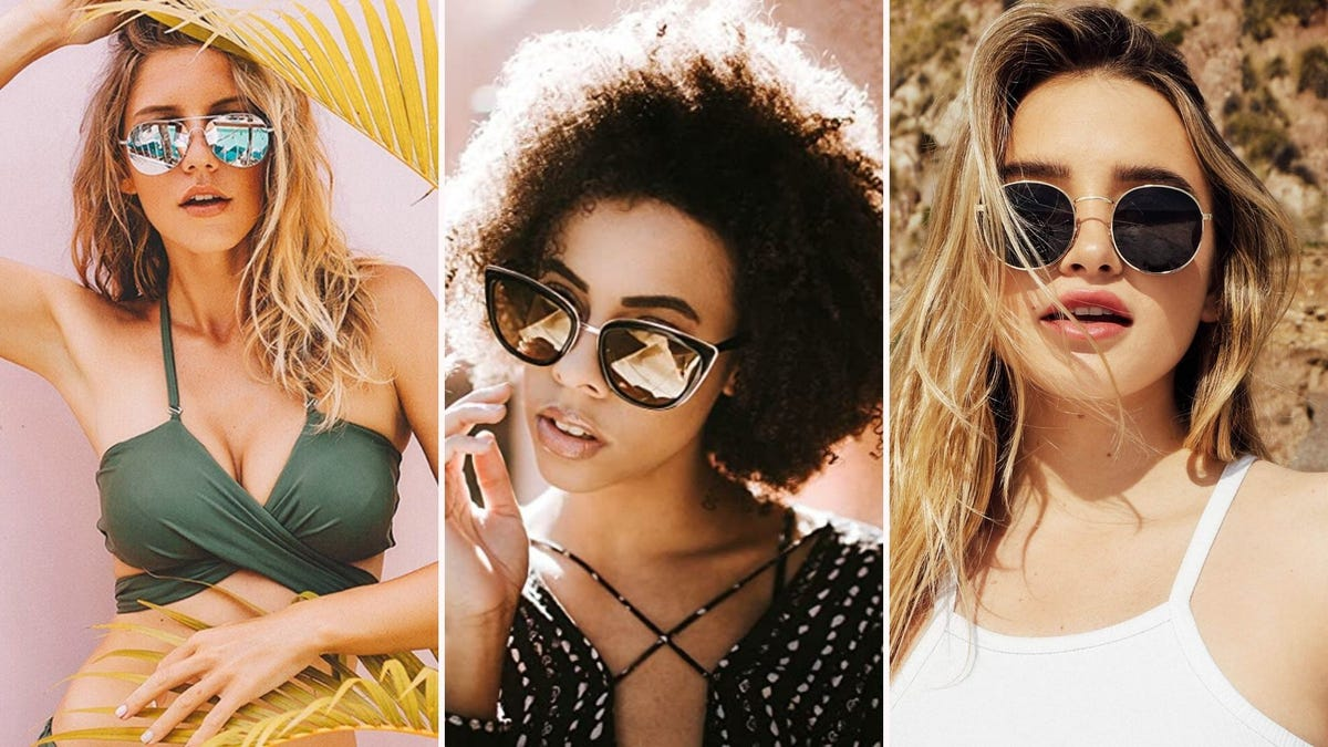 Images of three different women wearing different styles of sunglasses