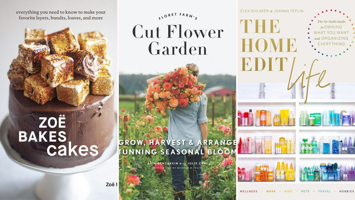 """Book covers for """"Zoe Bakes Cakes"""", """"Cut Flower Garden"""" and """"The Home Edit Life"""""""
