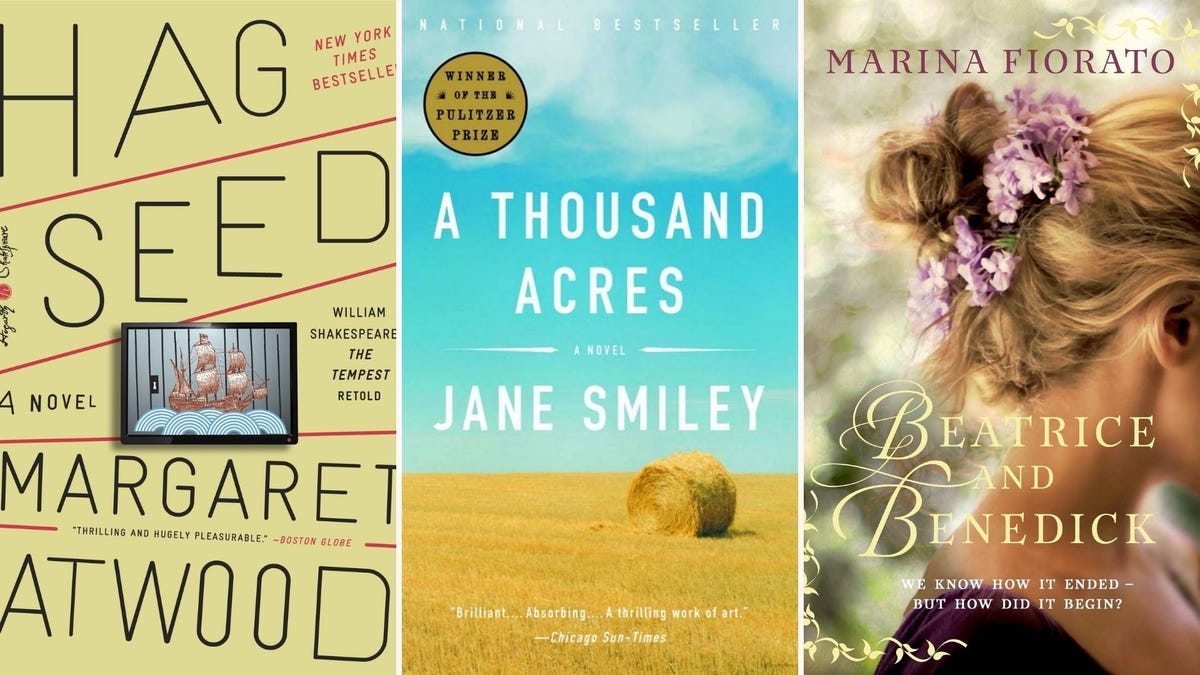 Book covers for Hag-Seed, A Thousand Acres, and Beatrice and Benedick