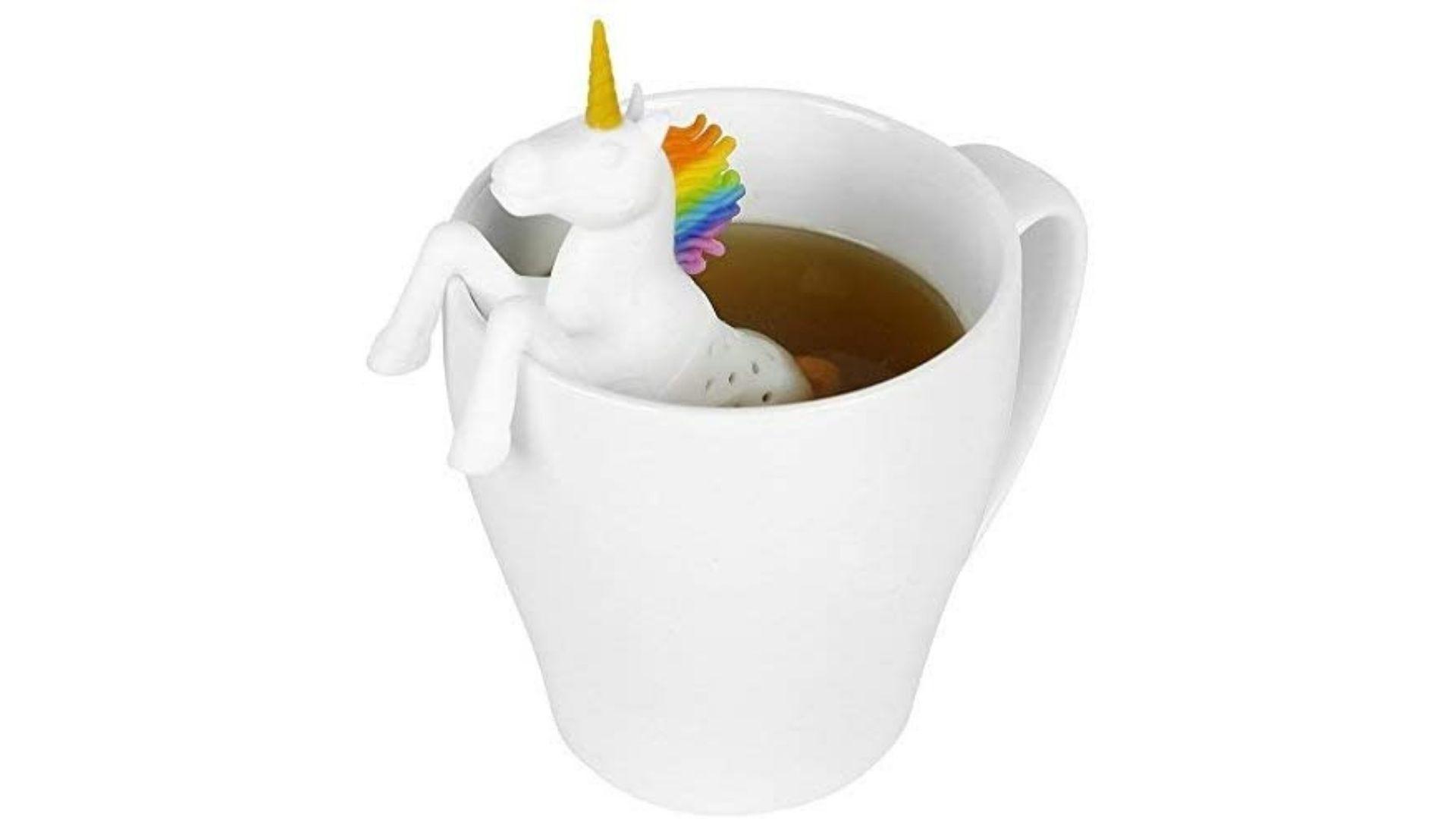 Unicorn tea strainer in a mug of water.